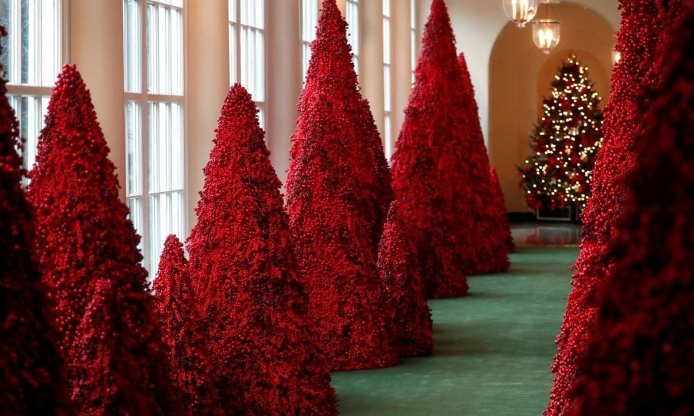 Melania Trump's Red Christmas Trees In The White House